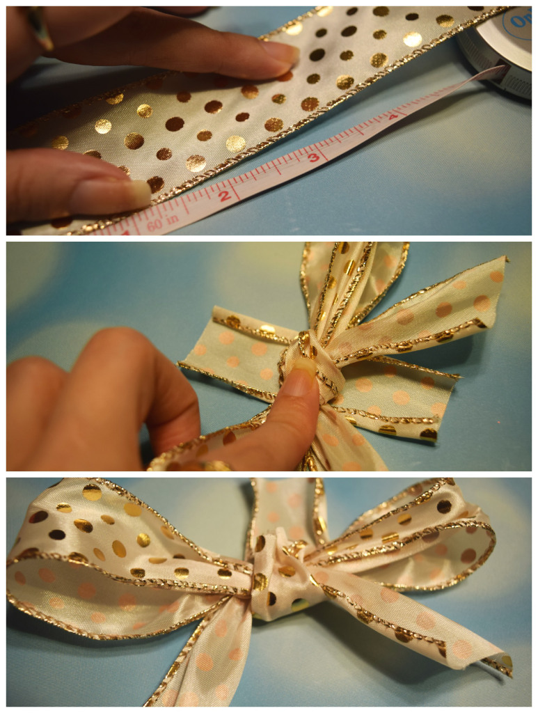 attaching the barette for making an easy DIY holiday bow