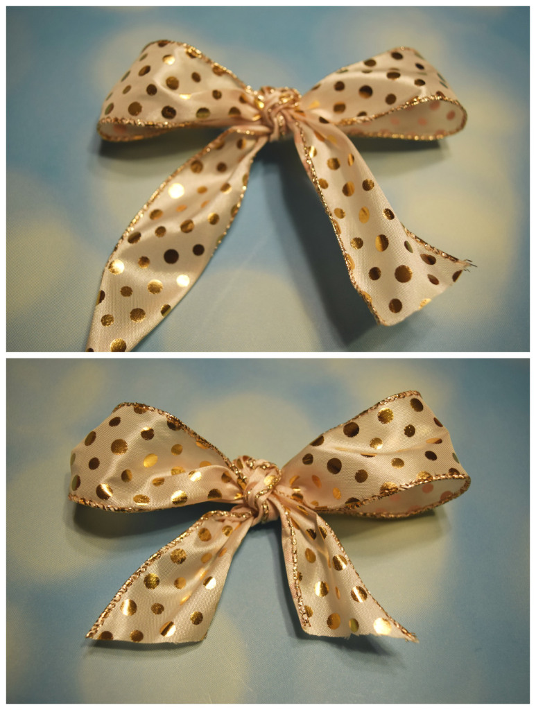 Final steps for bow for making an easy DIY holiday bow