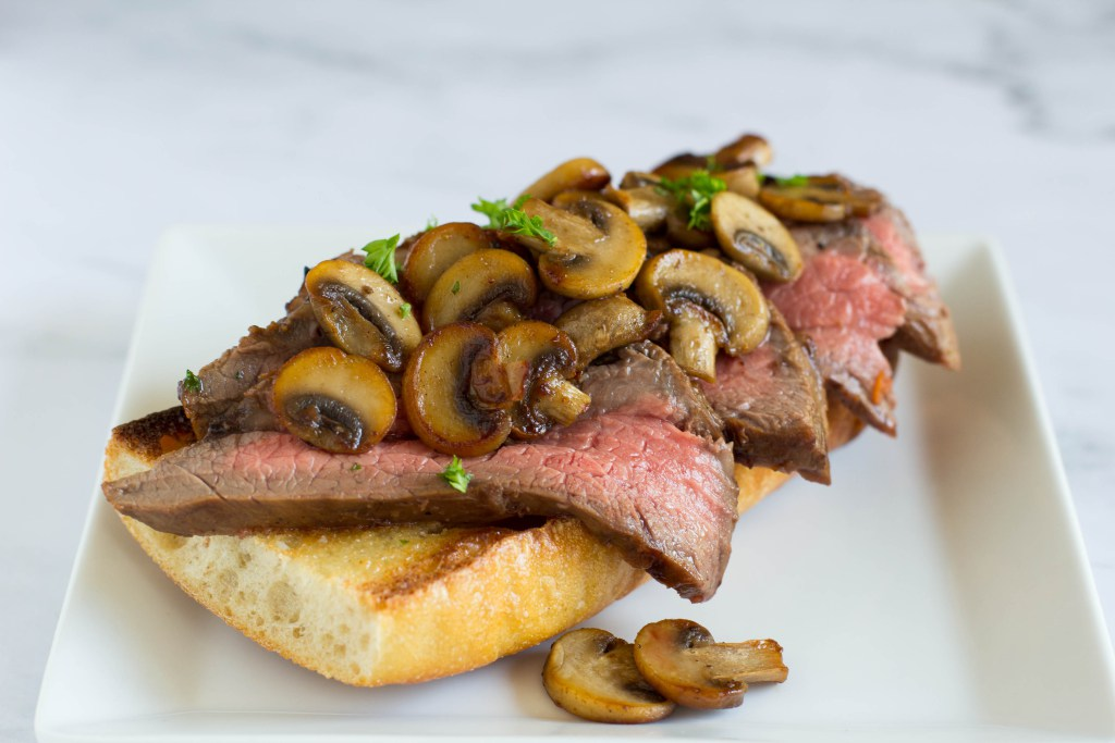 Open Face Steak Sandwich with Sauteed Mushrooms