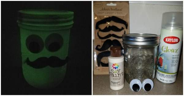 Glow In The Dark Craft - Halloween Mustache Mason Jar
