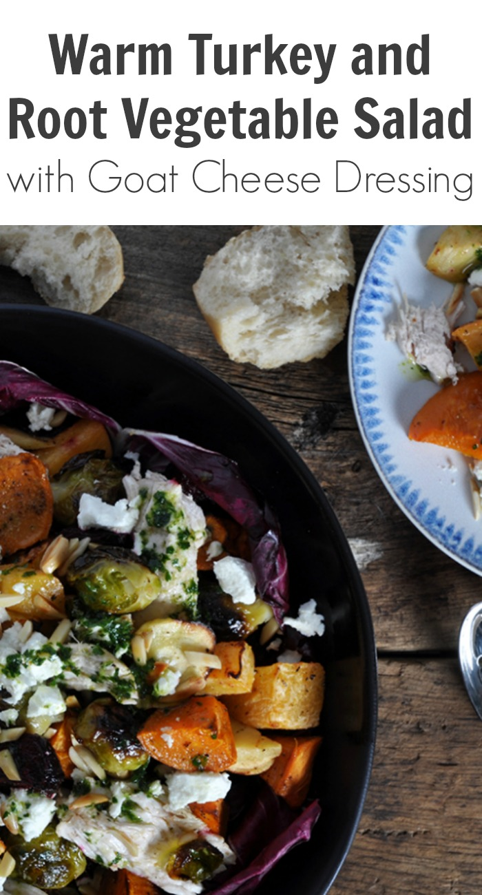 Warm Turkey and Root Vegetable Salad with Goat Cheese Dressing
